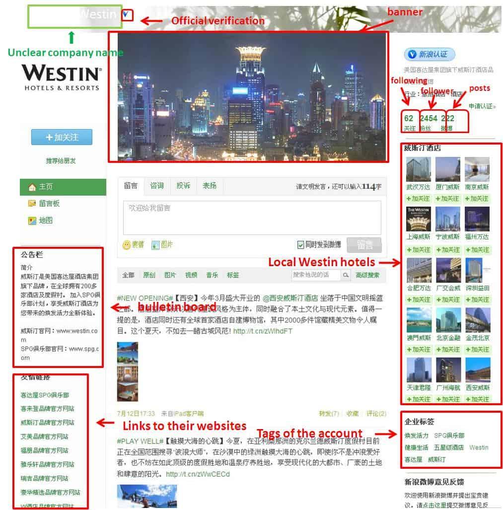 Westin weibo account