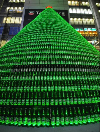 christmas tree with beer bottles